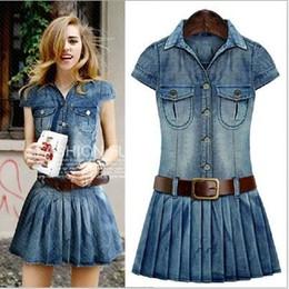 Wholesale Wool Short Dress - Women summer tunic denim dress plus size bandage boydcon dresses for Ladies sexy flare Casual sundress woman 5xl free shipping