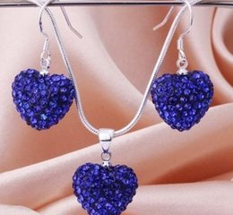 Wholesale Rhinestones Best Price - hotsale best wedding gift white lowest price Mixed Colors beads clay heart silver plated Shamballal Crystal necklace pendant drop earring