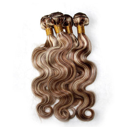Wholesale human hair extensions blonde highlights - Mixed Piano Color Hair Weave Bundles Body Wave Two Tone #8 613 Highlight Brown Blonde Color Virgin Human Hair Extensions