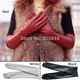 Wholesale Womens Lambskin Leather - Wholesale-A1 Womens Lambskin Leather Opera Long gloves BLACK Lambskin Warm Lined H6516 P