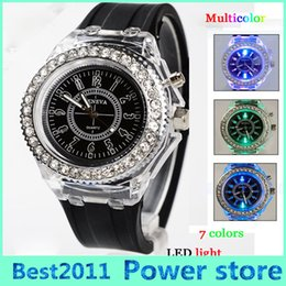 Wholesale Led Light Up Pins - Led light Geneva diamond stone crystal watch unisex silicone jelly candy fashion flash up backlight watches