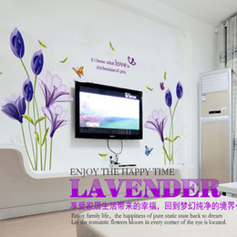 Wholesale Tulip Flower Sticker For Wall - Christmas Gift Warm Romantic Purple Tulip Flower Wall Stickers DIY Living Room TV Sofa Background Home Decor Mural Decal