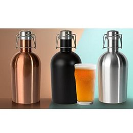 Wholesale Steel Stocks - 3 Colors 64oz Stainless Steel Beer Growler Swing Whiskey Cold Beer Bottle With Lid Hip Flask Wine Pot CCA8018 10pcs