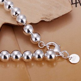 Wholesale Wholesale Sterling Silver Rosaries - Free Shipping 925 Sterling Silver Bracelet Fashion Jewelry 8MM Rosary Ball Bead Bracelet Bangle Top Quality SMTH126