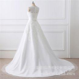 Wholesale Mother Pearl Flower Buttons - 2017 Plus size New Luxury Lace Wedding Dresses Satin Backless Wedding Gowns Wedding Bridal Bride Dresses vestidos de noiva