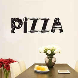 Wholesale Glass Tile Bathroom Designs - pizza wall decals vinyl removable DIY wall stickers kitchen waterproof home decoration tile sticker