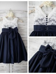 Wholesale Kids Girl Dress Bride - 2018 Fashion White Lace Navy Satin Flower Girls Dresses For Wedding Bride Cheap A line Big Bows Ruched Communion Dress For Girls Kids