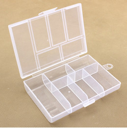 Wholesale Compartment Plastic Storage Boxes - Empty 6 Compartment Plastic Clear Storage Box For Jewelry Nail Art Container Sundries Organizer Free Shipping wen4652