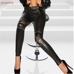 Wholesale Leggings Zip - Wholesale-AOWOFS Black Sexy Women Leather Skinny Pants Zipped Leggings Stretch Slim Trousers For Girls Clothing Free Shipment