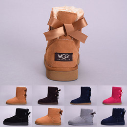 Wholesale Boot Box Clear - (With Box) Winter Bowtie WGG Women's Australia Classic kneel half Boots Ankle boots Black Grey chestnut navy blue red Women girl boots 5--10