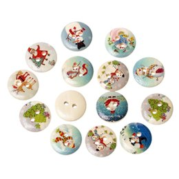 2017 trous de bois Wood Sewing Button Scrapbooking Round Mixed 2 trous Pattern de Noël 15.0mm (5/8