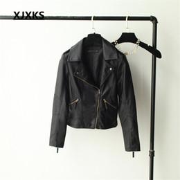 Wholesale Ladies Leather Hooded Jackets - Wholesale- XJXKS Coat Jacket Autumn and Winter 2018 Women PU Leather Motorcycle Punk Jacket Lady Slim PU leather Jacket Coat