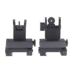 Wholesale Back Iron Sight - Funpowerland High quality Hunting Tactical Arms Gear Precision AR15 Airsoft Flip Up Front and Rear Back up Iron Sight Free Shipping