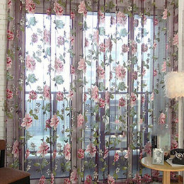 Wholesale Voile Curtains Scarf - 100*200cm Drape Panel Sheer Scarf Valances Curtain Romantic Floral Tulle Voile Door Window Curtain