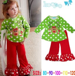 Wholesale Pyjamas Baby - girls christmas suits Green dots baby christmas santa suit girls santa pyjamas bell bottoms pants baby shirt pants sets free shipping