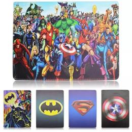 Wholesale Captain America Ipad Cover - For Ipad Pro 12.9 Superman Batman Hero Spider Man Super Captain America Cartoon Flip Leather case Stand holder Smart cover 10pcs 20pcs
