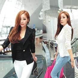 Wholesale Long Shrugs - 2015 New Women Casual Long Sleeve Long Polyester M Lace Shrugs Ladies Formal Slim Ol Coat Jacket Blazer Suit Top Outwear Black White Size