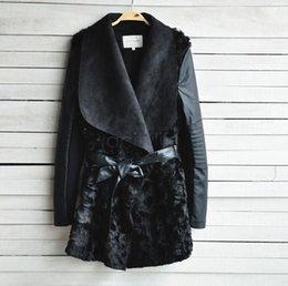 Wholesale B2 Leather Jacket - Wholesale-2015 European Women's Fashion Fur Coat Ladies Cardigans PU Leather Jackets Winter Women Faux Fur Coat Black B2# 41