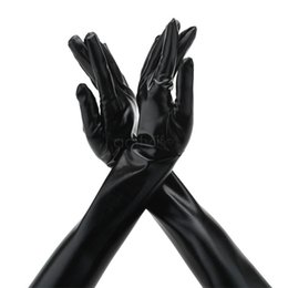 Wholesale Gloves Woman Leather Long - Lady Gloves Mittens Sexy Patent Long Leather Gloves Sexy Fitting Women's Gloves For Evening Party Wedding Dress Sv18 Sv012408