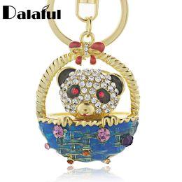 Wholesale Basket Chain - beijia Lovely Panda Bowknot Basket Crystal Bag Pendant Keyring Keychain For Car Fashion Jewelry key chains holder women K186