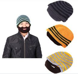 Wholesale Knitted Beard Ski Mask - Fashion Mustache hat Handmade Knitted Crochet Beard Hat Bicycle Mask Ski Cap roman knight octopus Cool Funny beanies Gift Free Shipping