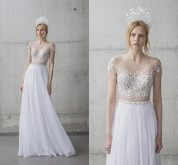 Wholesale Chiffon Beach Dresses Online - Mira Zwillinger Wedding Dresses Online 2016 A-Line Sexy Sheer Tulle On Top And Short Sleeve With Beaded Beach Bridal Gowns Custom Made