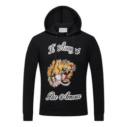 Wholesale Tiger Winter Hats - 2017 Winter Mens Hooded Sweatshirts Cotton Hoodies with Hat Luxury Brand Tiger Printed Warm Jackets Male tracksuit O-Neck Sweater 15540