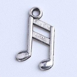 Wholesale Coppers Symbol - Silver copper Retro Floating Charms Music symbol Note Pendant Fit Bracelets Necklace DIY Metal Jewelry Making 2000pcs lot 1082x