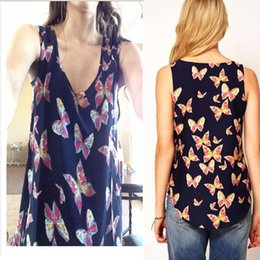 Wholesale Chiffon Tank Top Sleeveless Women - 1 Piece Top Blusas Women Butterfly Print Sleeveless Chiffon Tank Shirts Vest I-eat