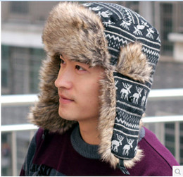 Wholesale Red Trapper Beanies Women - Wholesale-2015 Sale Cap A058+fur+hat+winter+hat+men+and+women+knitted+wool+winter+cycling+imitation+rabbit+hair+thickened+ear+hats+beanie