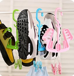 Wholesale Plastic Shelf Clips - Shoe drying rack candy color multifunctional movable portable outdoor airing shelf rack with a clip household supplies
