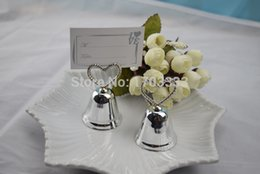 """Wholesale Kissing Bell Card Holders - """"Kissing Bell"""" Place Card Photo Holder Heart Bell Place Card Holder+100pcs lot+Wedding Party Decoration Favors"""