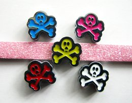Wholesale Skull Phone Accessories - 50pcs 8mm full rhinestone Mix colors skull slide charms DIY accessory fit to wristband,pet collar&phone chain