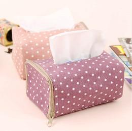 Wholesale Box Korea - Wholesale-Korea White Dot Pattern Home Decoration Tissue Box Cover Car Styling Tissue Holder