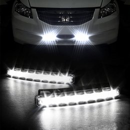 Wholesale Head Light Running - 8 LED Universal Car Light DRL Head Lamp Daytime Running Light Super White Long Lifespan Attractive Slim Design Fts Varlous Car Models
