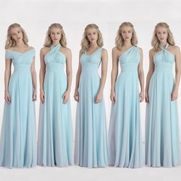 Wholesale Convertible Dress Silver - Convertible Long Chiffon Bridesmaid Dress 2017 One Shoulder Pleated Bridesmaid Party Dress For Wedding Custom Made
