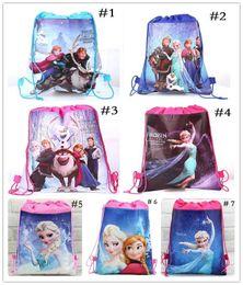 Wholesale Drawstring Backpack Bag Kids - Kids backpack Anna Elsa drawstring bags Anna Elsa backpacks handbags children's school bags kids' shopping bags present 7 styles