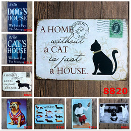 Wholesale Hot Dog Bar - hot new 2015 cute lovely catty cat dog puppy Tin Sign Coffee Shop Bar Restaurant Wall Art decoration Bar Metal Paintings