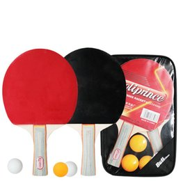 Wholesale Table Tennis Racket Sale - Free Shipping Table Tennis Rackets Balls Set Poplar Wood Blade Ping Pong Doubled Face Pimples-in Rubber Table Tennis Sets for Sale
