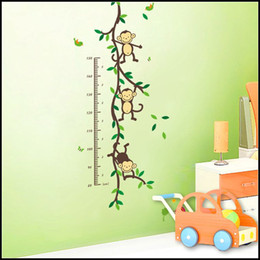 Wholesale Height Sticker Monkey - 50*110cm Kids Forest Monkey grow up height wall stickers 3D wallpapers wall decals removeable novelty kids room wallpaper J072305# DHL