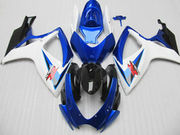 2019 kit de carreras gsxr Personalizar para Suzuki GSXR 600 750 Carenado GSXR600 GSXR750 carenados 2006 2007 06 07 Carenados azul blanco