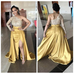 20156b8299b Modest Black Girls Prom Dresses 2018 Lace Top One Shoulder Long Sleeves Gold  Side Split Mermaid Evening Dress With Overskirt Formal Wear