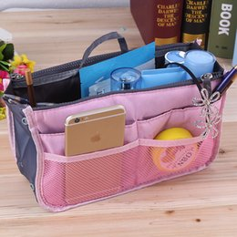 Wholesale Handbag Tote Purse Folding - 2016 HOT Women Travel Insert Handbag Purse Large liner Tote Bags Organizer Bag Storage Bags Amazing make up bags 12 Colors