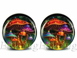 Wholesale Ear Tunnel 25mm - Wholesale 6-25mm gauges 60pcs bag body jewelry mushroom paradise ear plug gauges tunnel ear expander ASP0223
