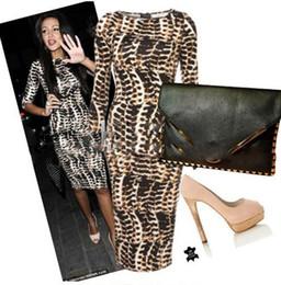 Wholesale Celebs Slim Dress - 2016 Snake Women Dresses New Fashion Spring Celeb Slim Party Cocktsil Bodycon Sheath Shift prom Dresses Size S M L XL Wholesale Reta ZJ135