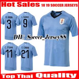 Wholesale Uruguay Soccer - 2018 2019 Uruguay Soccer Jersey Thai quality L.SUAREZ E.CAVANI D.GODIN C.STUANI D.FORLAN J.M.GIMENEZ national team jerseys football shirts
