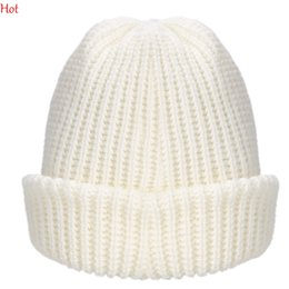Wholesale White Ski Hats Womens - Quality 2015 Men Womens Beanies Winter Slouch Knit Cap Warm Cuffed Beanie Crochet Ski Bobble Beanies Vertical knitting Roll Up Hat SV026381