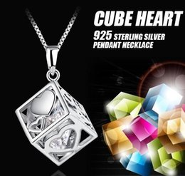 Wholesale 925 Silver Necklace For Sale - Hot Sale 925 Sterling Silver Love Cube Shape Crystal Heart Necklace Pendant For Women Jewelry Valentines Gift Free Shipping