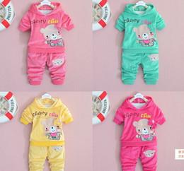Wholesale Kids Bear Hoodie - Spring autumn kids girl hoodies +pants set 2 pieces,girls long sleeve clothes suit bear pattern velvet clothing 4s l