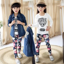 Wholesale Denim Print Brief - Girl set autumn children clothing kids long sleeve denim trench coat & tiger print t shirt & floral print leggings sport suit